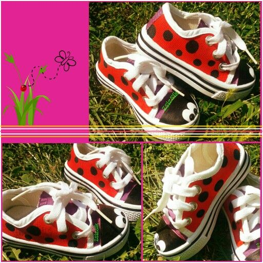 My new hand painted ladybird shoes for a cute little girl