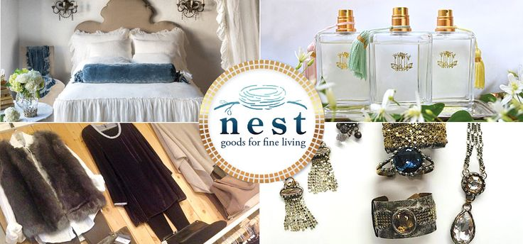 Nest, Manteo, NC, near Outer Banks. 2017 //  Nest carries an eclectic mix of home furnishings and tabletop accessories as well as ladies' clothing accessories including straw hats and bags by Flora Bella and Lola; handbags and espadrilles imported from France; lush cashmere; clothing by CP Shades; artisan jewelry by Dana Kellin, Michael Michaud, Michael Vincent Michaud and Viv & Ingrid, among others; niche fragrances, including Eau d'Italie and Calypso; Kent of London grooming accessories…