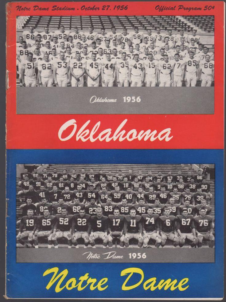 1956 NOTRE DAME w/ HEISMAN PAUL HORNUNG vs. #1 OKLAHOMA COLLEGE FOOTBALL PROGRAM