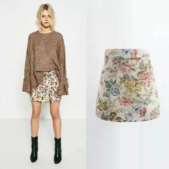 2016秋と冬新しい女性ファッション花ジャガードハイウエストスカート、女性vintageブランドカジュアルスリム短いスカート