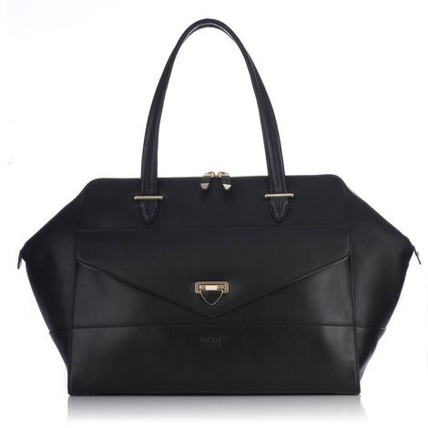 "[Knomo] Galactic 14"" Laptop $425.00 http://www.knomobags.com/usa/galactic-black-leather-tote-bag-14-laptop-bag.html"