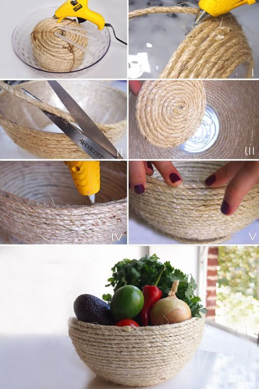 """.:* L - DIY Rafia Bowl from Because I'm Addicted [""""You will need:Bowl (we bought ours at the 99¢ store); 1 package of sisal rope; Glue gun; Glue; Scissors""""]"""