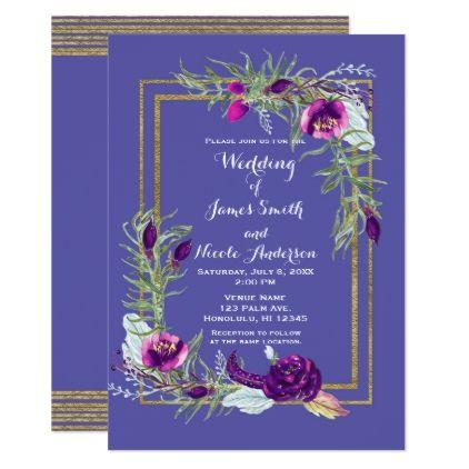 Ultra Violet Purple & Gold Floral Bohemian Wedding Card - individual customized designs custom gift ideas diy