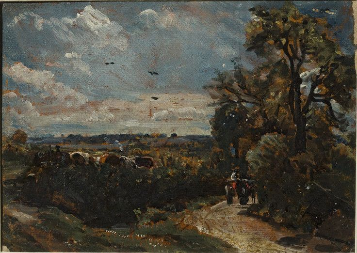 A Cart on a lane at Flatford, John Constable, 1811. Visit the real Flatford Mill http://www.nationaltrust.org.uk/flatford-bridge-cottage/
