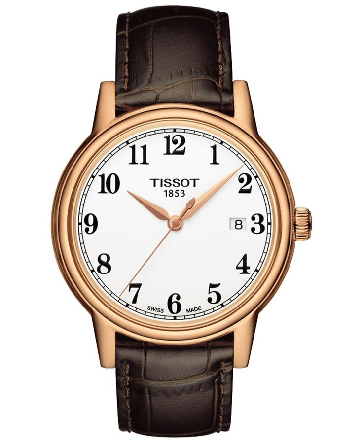 Tissot Men's Swiss Carson Brown Leather Strap Watch 40mm T0854103601200