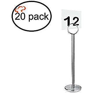 Tiger Chef plateado soporte para numeros de mesa Stands para numeros de mesa titulares de tarjetas de lugar Menu Holder, resistente Calidad 12 inch 20 count
