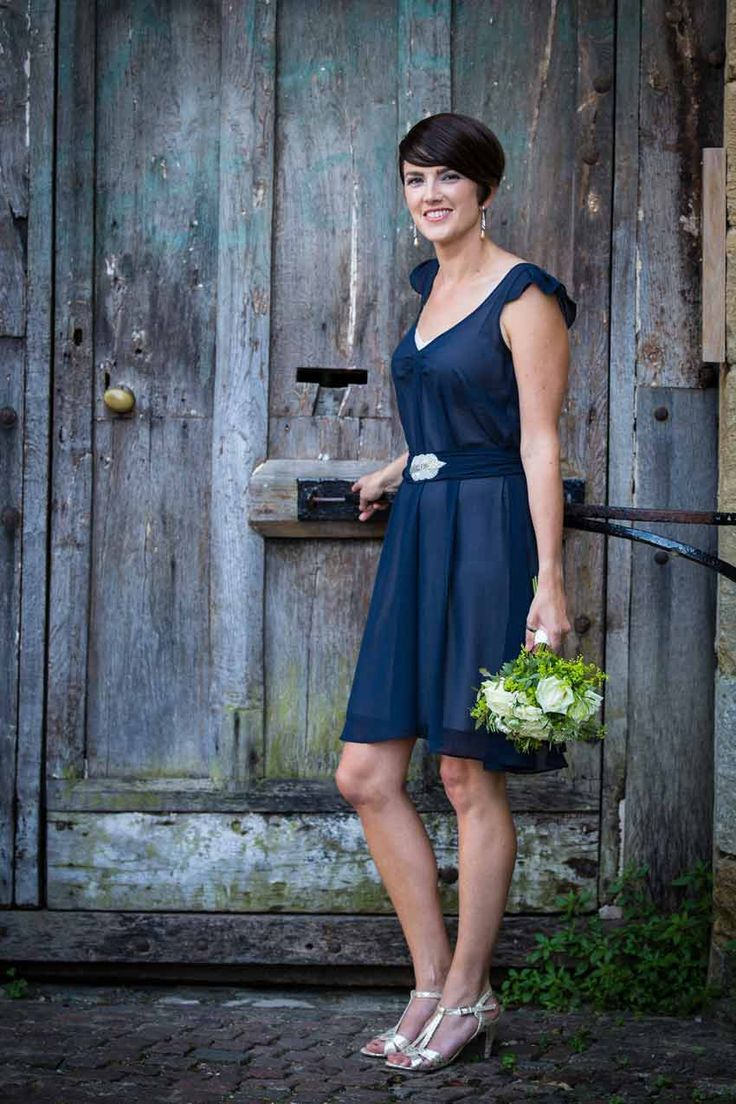 ViCTOR Bridesmaid - Style AMELIE Knee Length INK Chiffon bridesmaid dress with embellished belt