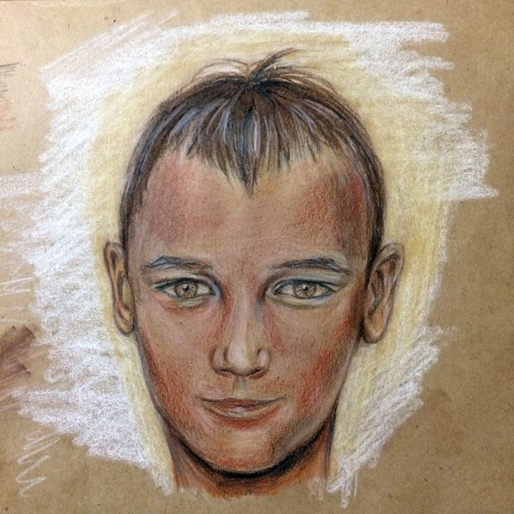 Boy's head. Pastel pencils.