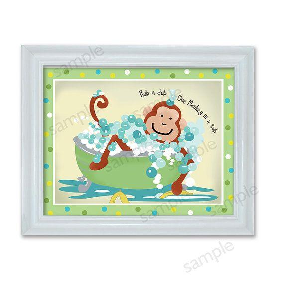 Peekaboo Monkey Bathroom Art, Kids Monkey Bathroom Art Print
