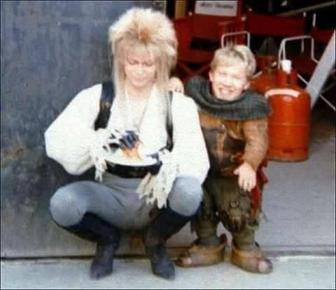 One lucky goblin joining King Jareth (David Bowie) for a lunch break while filming Labyrinth 1986.