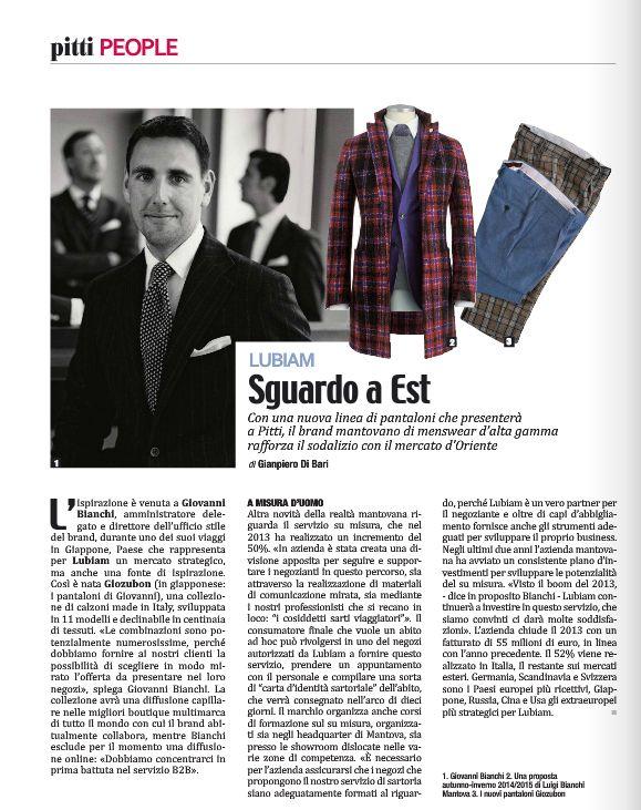 #Intervista a Giovanni Bianchi, Resp.Ufficio Stile #Lubiam sulla rivista #Fashion. Si parla della nuova linea di #pantaloni Giozubon e dell'Oriente come nuova direzione del business aziendale.