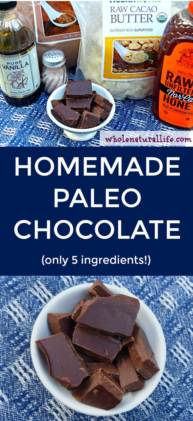 This homemade Paleo chocolate is only 5 ingredients and super simple to make!
