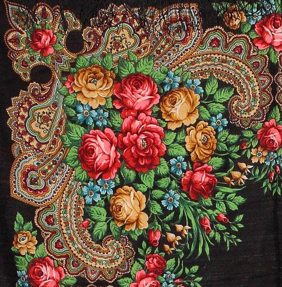 Floral Wool Shawl Russian Folk Scarf In by PoppyVintageCorner, $49.95