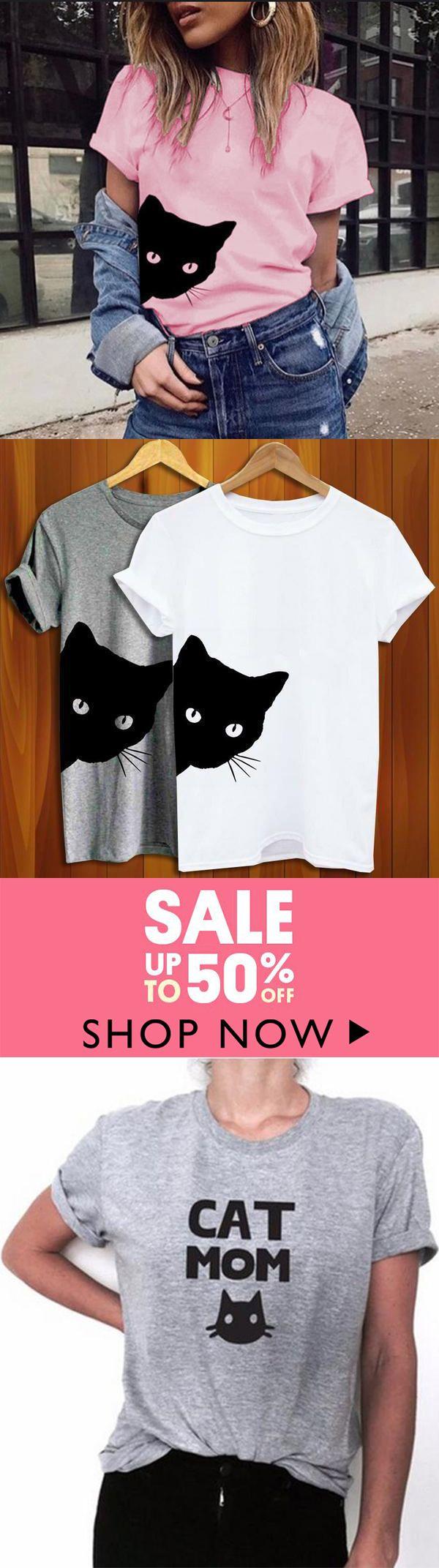 Katze, die äußeres Druck-Frauen-T-Shirt Baumwollbeiläufiges lustiges T-Shirt schaut