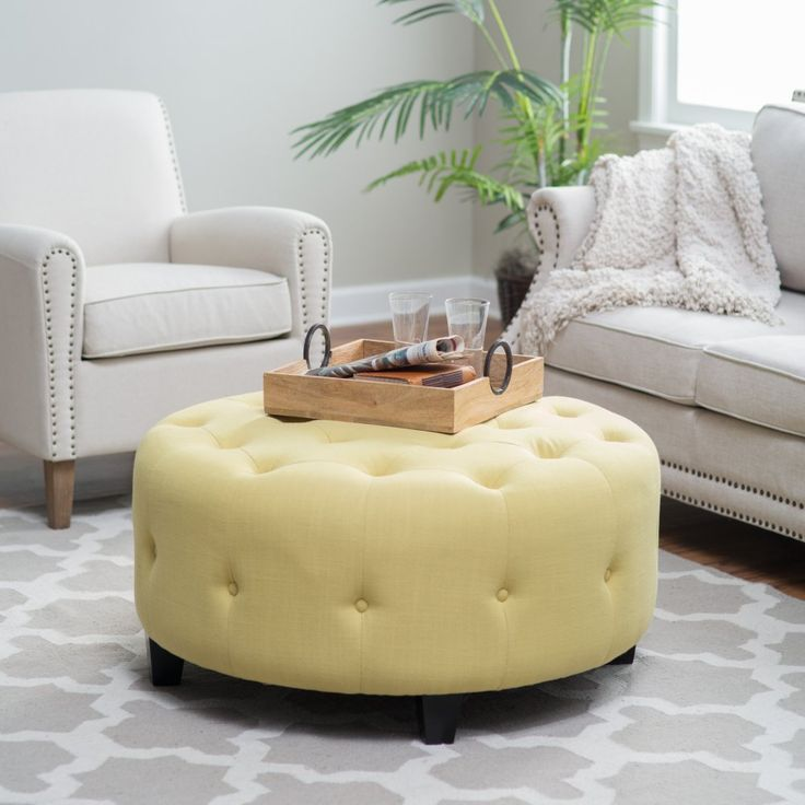 Superior Belham Living Teagan Round Tufted Ottoman   The Perfectly Versatile Belham  Living Teagan Round Tufted Ottoman Nice Look