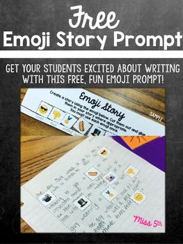 Print one copy of the emoji prompt for each of your students. (Students will each get a  page slip.) Your students will take their slip of paper and cut out each of the emoji. They must then create a story (you create the requirements) using the emoji in place of actual words.
