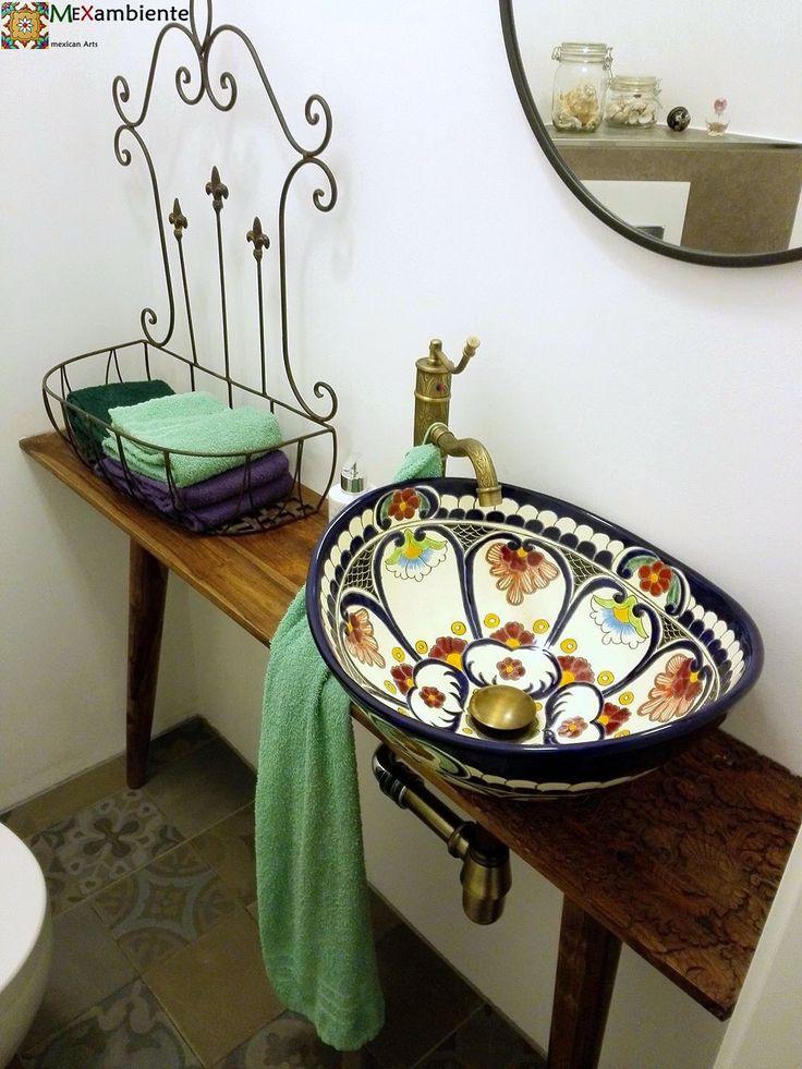 Schönes Waschbecken mit Flair aus Mexiko von Mexambiente. Originelle handbemalte Waschschale Motiv: Natura #waschbecken #waschtisch #badinspiration #badideen #gästewc #mexikanischewaschbecken #gemustert #floral #rustikal #ausgefallen