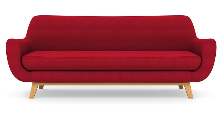 Brosa Filip 3 Seater Danish Style Lounge - Passion Red | $1,099.00