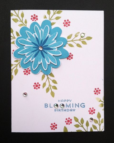 Stampin' Up! Flower Fair framelits, photopolymer, Flower Patch Birthday card by Shelley Roberts