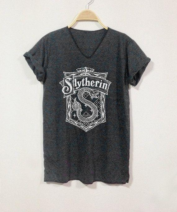 Slytherin Shirts V-Neack Black Gray Unisex Size S M by finteetank
