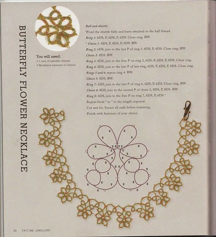Butterfly flower necklace. http://schemichiacchierinogratis.blogspot.it/?m=1  Italian blog with many tatting patterns with diagrams and instructions.