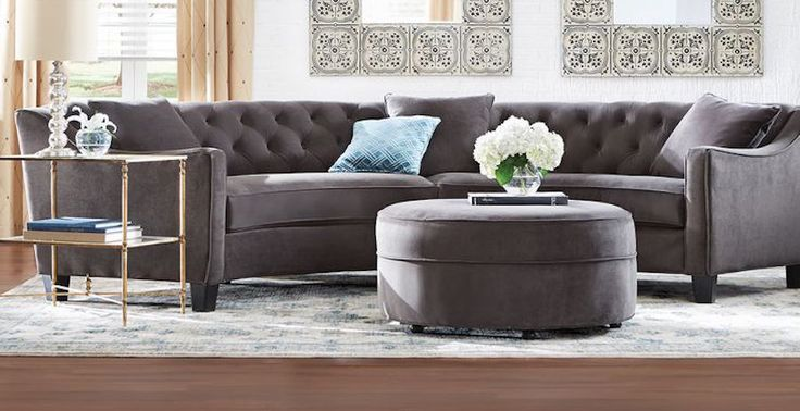 Gray Velvet Button Tufted Curved Sectional Sofa Modern
