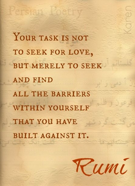 """""""Your task is not to seek for love, but merely to seek and find all the barriers within yourself that you have built against it.""""—Rumi"""