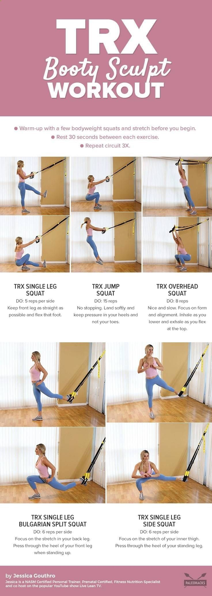 Excersices For Legs At Home and At The Gym - Squats are one of the most effective ways to train your legs and butt. To take them to the next level, use these TRX moves to transform your squats into more challenging variations. Get the workout here: paleo.co/trxsquats - Strengthening our legs is an exercise that we are going to make profitable from the beginning and, therefore, we must include it in our weekly training routine