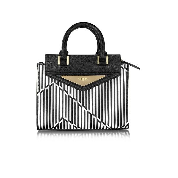 Vionnet Handbags Shopping 20 Orchid White & Black Optical Print... ($1,590) ❤ liked on Polyvore featuring bags, handbags, white, leather man bags, black and white purse, white handbags, leather handbags and leather tote bags
