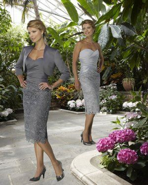 Strapless Silver Gry Satin Lace Knee Length Mother of the Bride Dress Short Evening Dress & Jacket