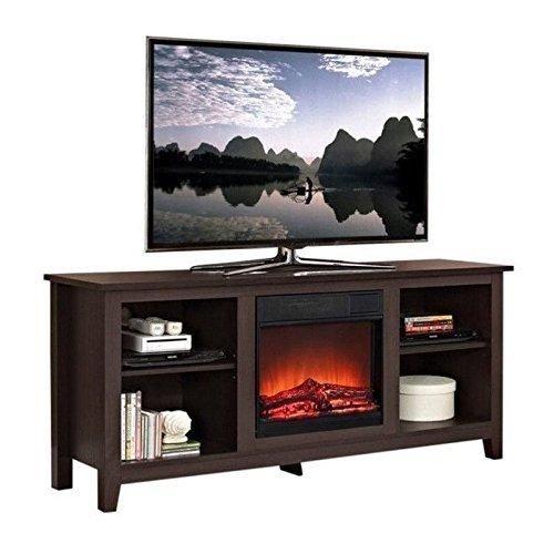 "Walker Edison W58FP18ES Fireplace TV Stand  Espresso 58"""