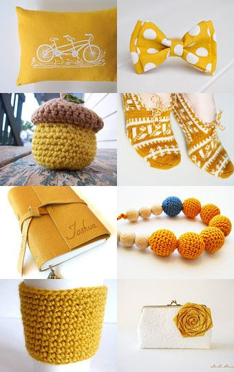 Gifts in Mustard by Cristina on Etsy--Pinned with TreasuryPin.com