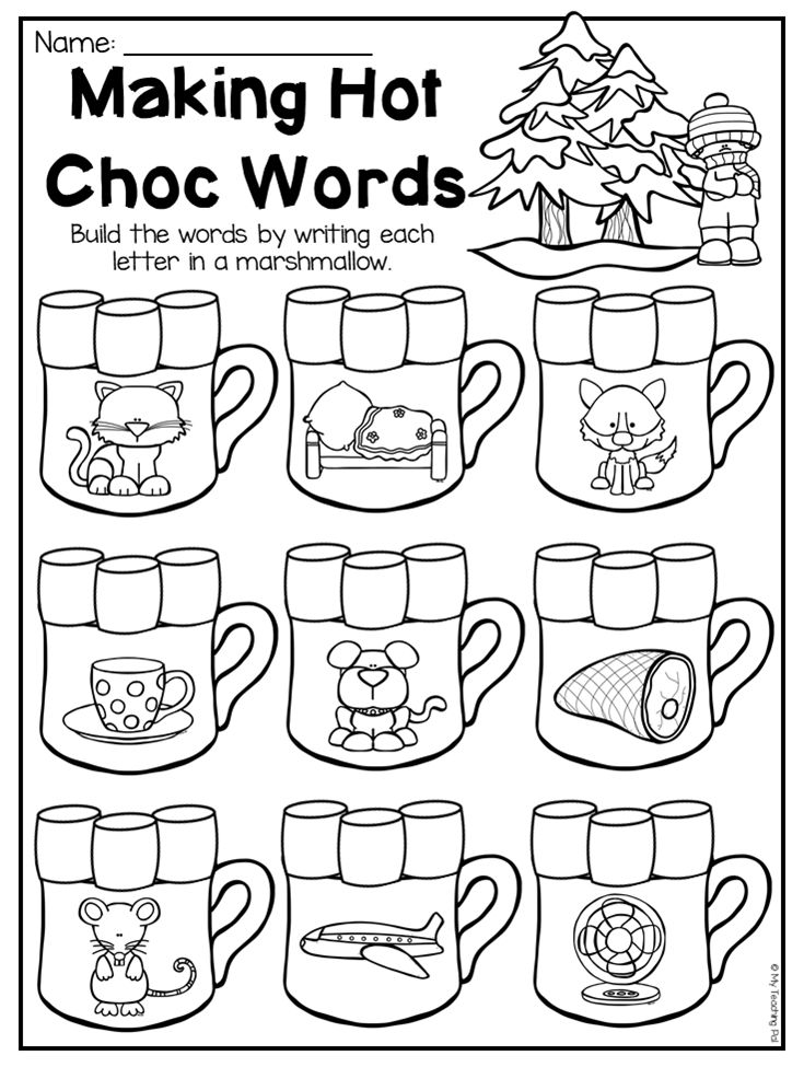 Building CVC woksheet for kindergarten. This Winter Kindergarten Math and Literacy Worksheet Pack features 53 NO PREP worksheets. The pack includes a number of diverse activities relating to beginning sounds, ending sounds, short vowels, long vowels, CVC words, alphabet work, syllables, rhyming, number order, number names, counting, number sense, prepositions, addition, subtraction, place value, shapes, patterns, word problems and so much more!! These worksheets are ideal for literacy…