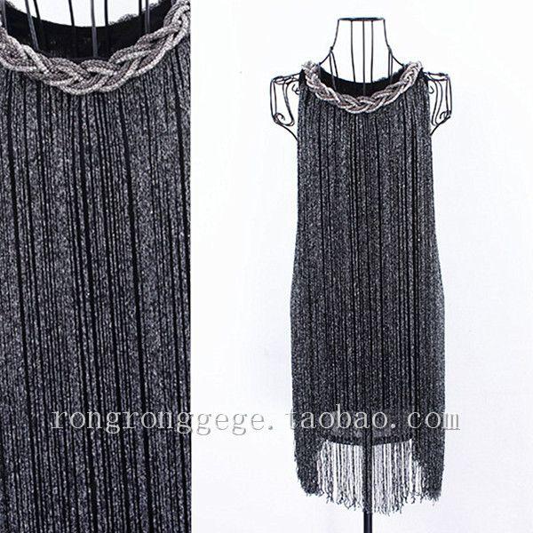 Великий гэтсби ломбер черный бахрома из бисера 1920 s хлопушки чарльстон платье(China (Mainland))