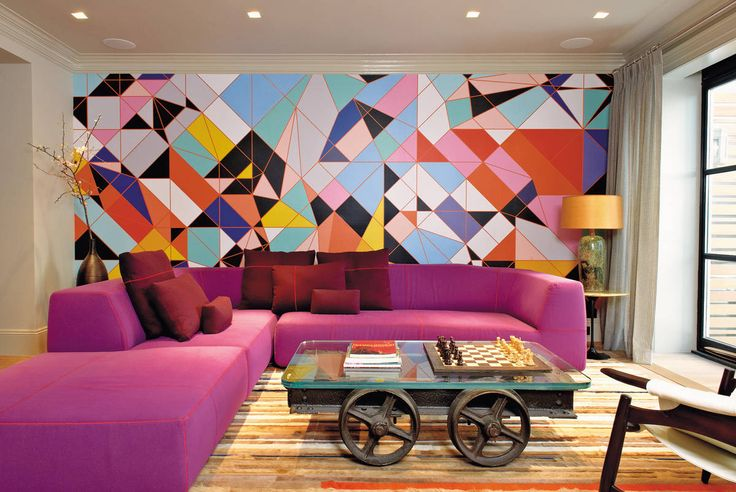 A bright and geometric living room maharam wallpaper and for Bright wallpaper for living room