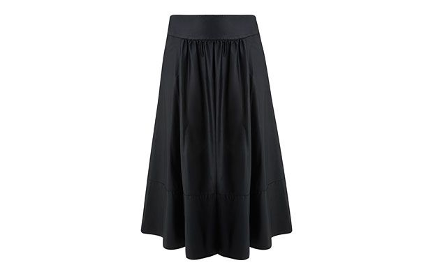 "Black Midiskirt. ""Midiskirts are a must-have this season. This sweeping style oozes cocktail hour glamour."""