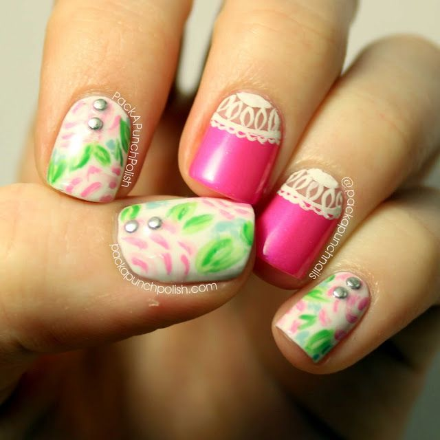 Watercolor Floral and Lace Nails