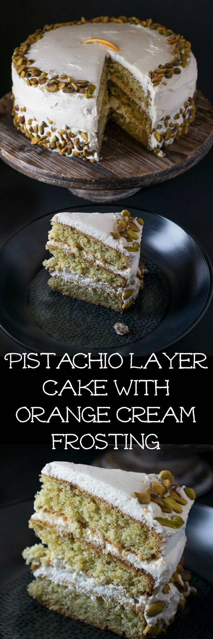 Pistachio layer cake with orange cream frosting has ground pistachios as well as pistachio extract in the cake itself, just to drive home the pistachio flavor. The frosting is fluffy, whipped cream with fresh orange zest. Together, this pairing makes for a heavenly combination!