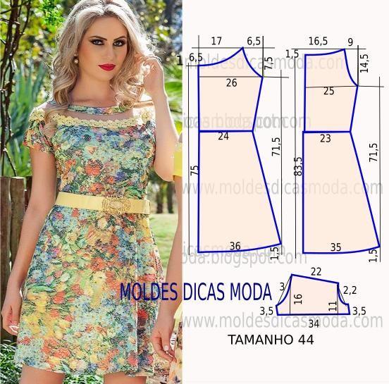 Passo a passo construção molde de vestido. O molde de vestido encontra-se no tamanho 44. A ilustração do molde de vestido não tem valor de costura.