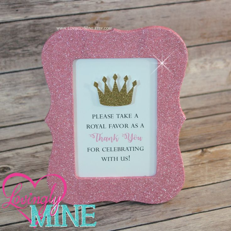 4 X 6 Frame Glitter Pink Favor Table Sign   Glitter Gold Princess Baby  Shower, Bridal Shower, Wedding, Birthday