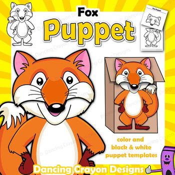 Puppet Fox Craft Activity Paper Bag Puppet Template P is for