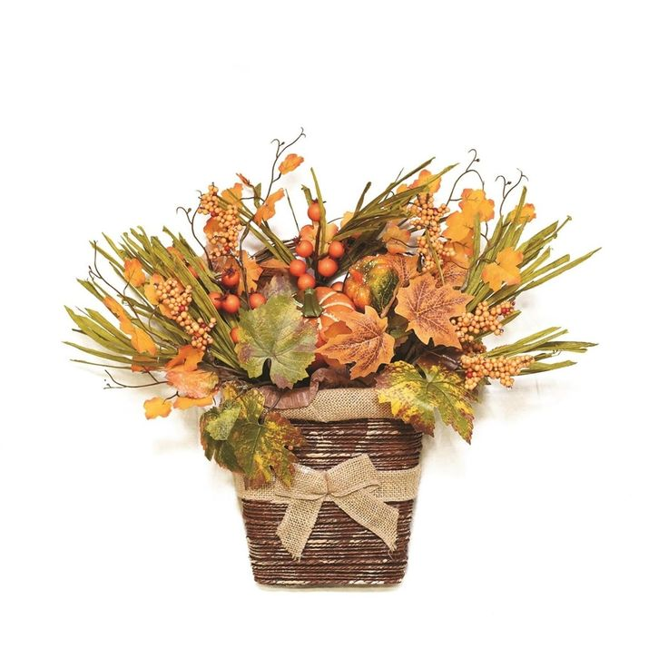 18 Autumn Harvest Artificial Pumpkins, Berries, Leaves and Grass Wall Mounted Basket Decoration, Brown