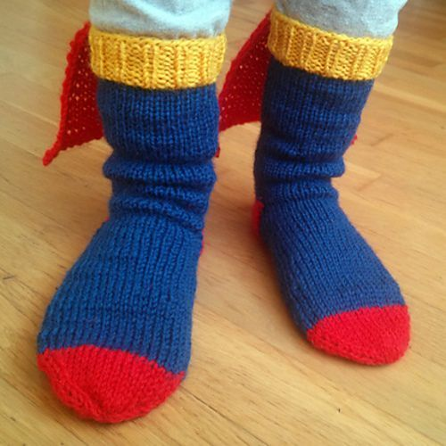 Free knitting pattern for Steely Man Superman Tribute Socks - Therese Sharp's adorable socks have little capes like their namesake. Sized for 3y, 4y, 5y, 6y, 7y