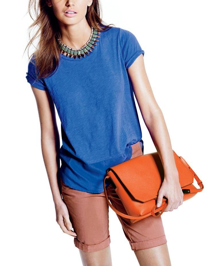 J.Crew silk-back vintage cotton tee, the Andie short, mint spike necklace and the Claremont bag. Awesome shorts