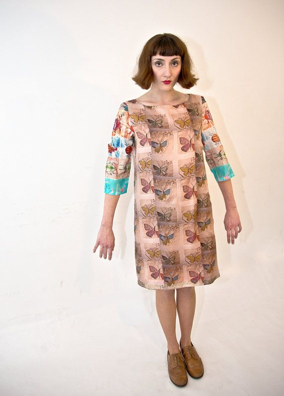 Handmade silk dress butterfly and bug print. by lovedomini on Etsy