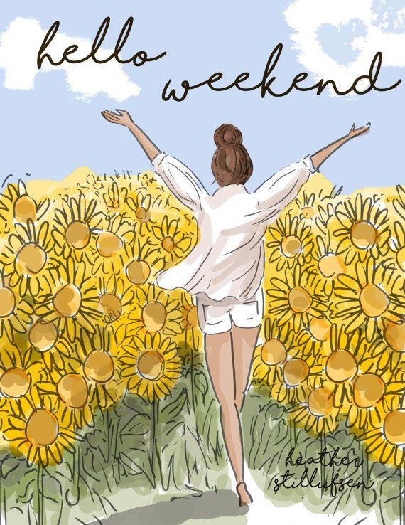 Wandkunst für Frauen  Hallo Wochenende im Sonnenblumenfeld