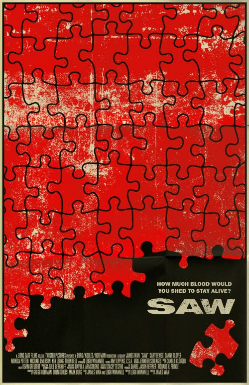 Saw is a horror franchise  that consists of seven feature films and additional media. In 2003, Australian director James Wan . Poster by Mark Welser.