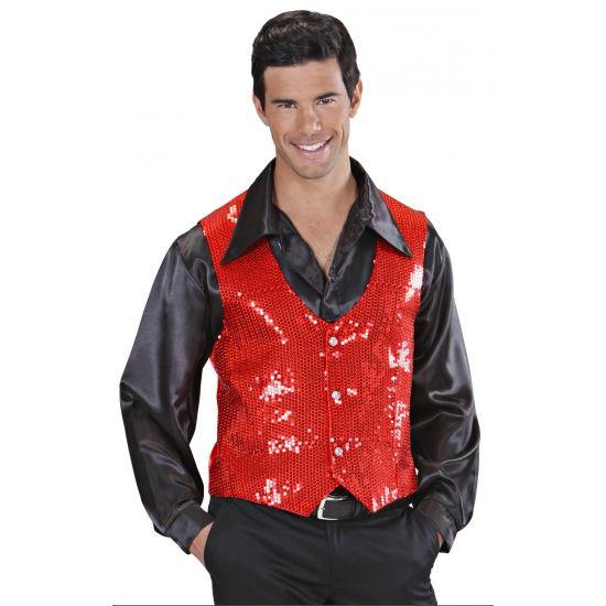 Rood pailletten vestje voor heren  Rode gilet met pailletten. Rood glimmend vestje met 3 knopen en pailletten. Geschikt voor heren.  EUR 22.50  Meer informatie