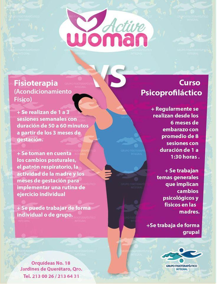 """#Infografìa PARTE 2. Te asesoramos del por qué es mejor la Fisioterapia, que un Curso Psicoprofiláctico, como complemento en el seguimiento de tu #embarazo. #ActiveWoman """"Salud integral de la mujer"""", a través de #GrupoFI. #Fisioterapia"""