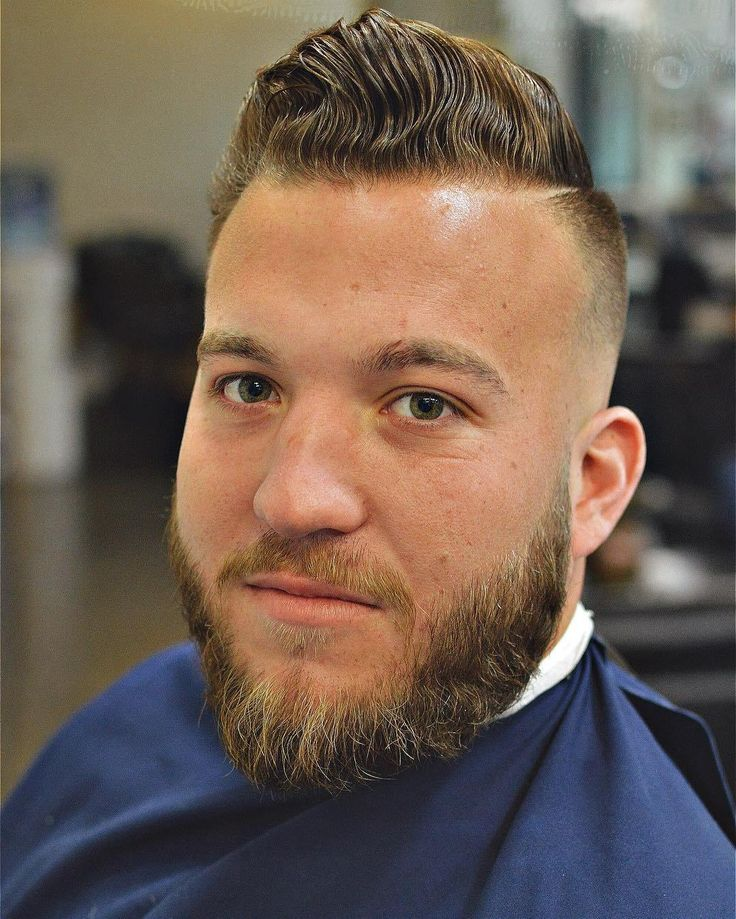 Medium Skin Fade Side Part, with a shaved-in Mini Part, and a Beard Trim